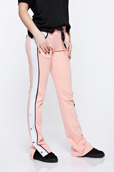 Pantaloni Ocassion rosa casual din bumbac cu buzunare cu elastic si snur in talie