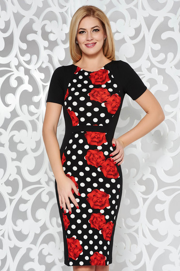 Rochie StarShinerS neagra office tip creion din material usor elastic cu print