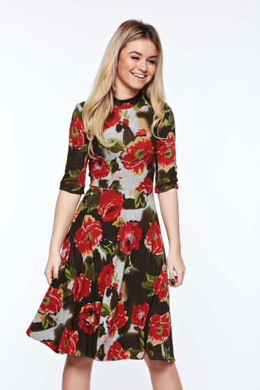 Rochie StarShinerS khaki de zi in clos tricotata cu imprimeuri florale