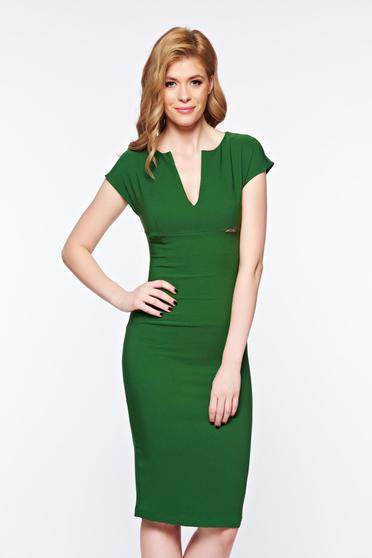 Rochie PrettyGirl verde office tip creion din stofa subtire usor elastica cu decolteu in v