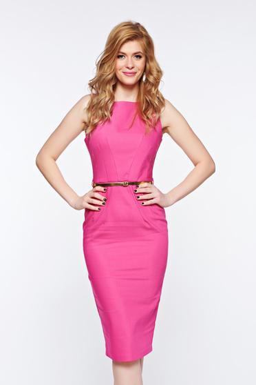 Rochie PrettyGirl roz office tip creion din bumbac cu accesoriu tip curea