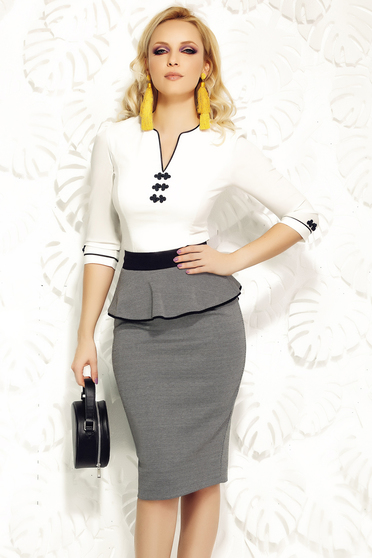 Camasa dama Fofy alba office din bumbac elastic cu insertii de broderie