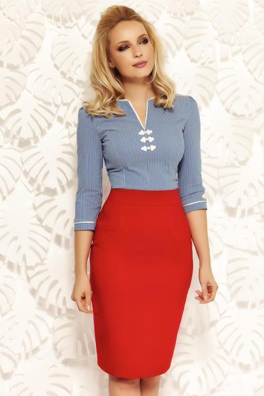 Camasa dama Fofy albastra-deschis office din bumbac elastic cu insertii de broderie