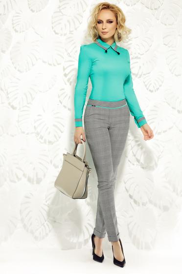 Pantaloni Fofy verzi office conici cu talie medie din stofa usor elastica cu buzunare
