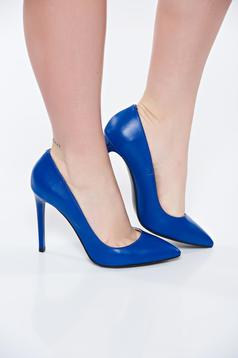 Pantofi stiletto albastri din piele naturala cu toc inalt