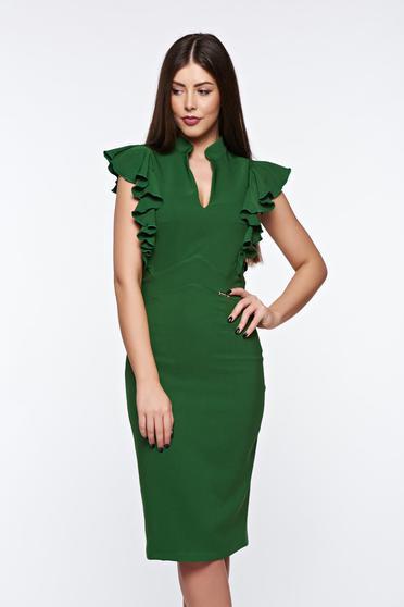 Rochie PrettyGirl verde eleganta tip creion din stofa subtire usor elastica captusita pe interior