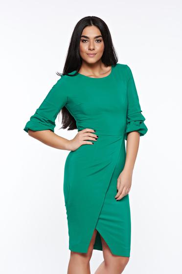 Rochie LaDonna verde eleganta petrecuta tip creion din stofa usor elastica