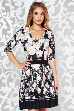 Rochie StarShinerS rosa office in clos din material elastic cu decolteu in v