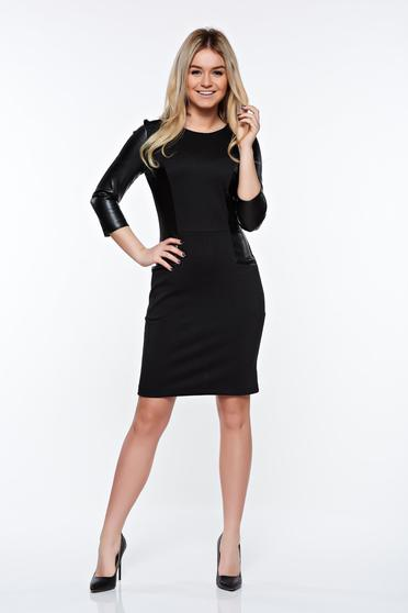Rochie StarShinerS neagra office tip creion din material elastic cu aplicatii din piele ecologica