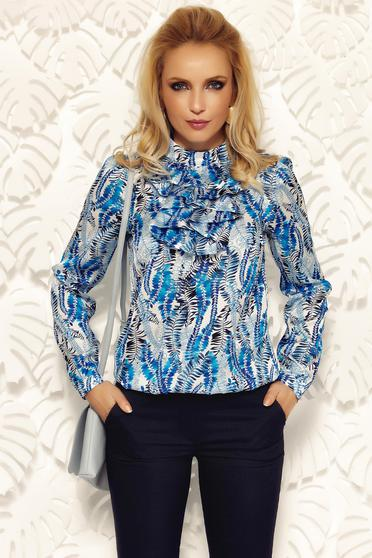 Bluza dama Fofy albastra eleganta cu croi larg din material satinat si vaporos cu volanase