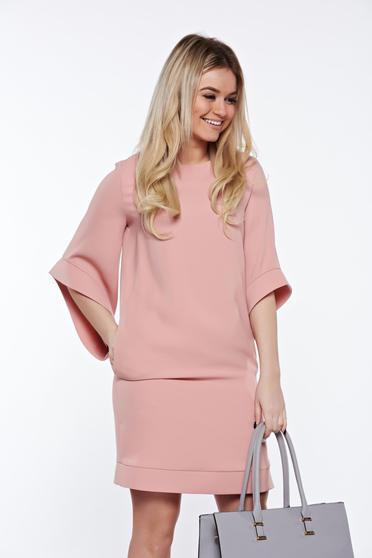 Rochie LaDonna rosa eleganta cu croi larg captusita pe interior cu buzunare