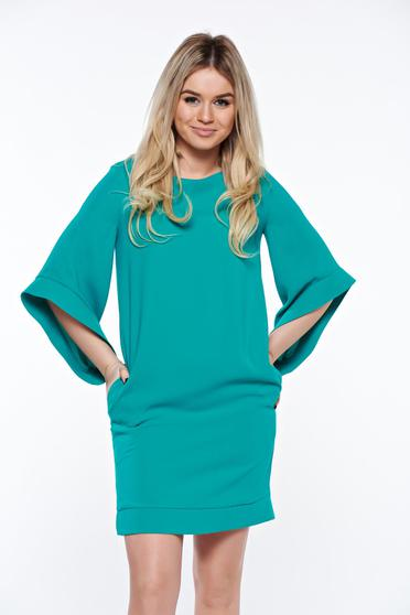Rochie LaDonna verde eleganta cu croi larg captusita pe interior cu buzunare
