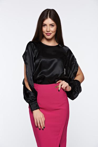 Bluza dama PrettyGirl neagra eleganta cu croi larg din material satinat cu maneci decupate