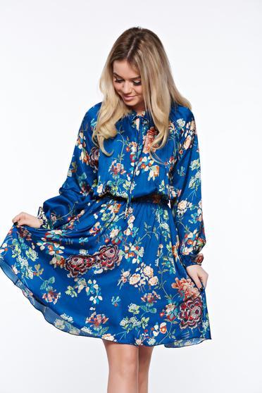 Rochie PrettyGirl albastra de zi cu croi larg din material vaporos cu elastic in talie