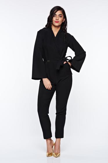 Salopeta PrettyGirl neagra eleganta din stofa usor elastica cu buzunare si maneci clopot