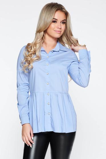 Camasa dama PrettyGirl albastra-deschis casual cu croi larg din bumbac cu peplum