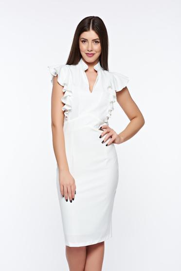 Rochie PrettyGirl alba eleganta tip creion din stofa subtire usor elastica captusita pe interior