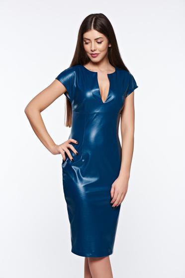 Rochie PrettyGirl albastra-inchis tip creion din piele ecologica cu decolteu in v