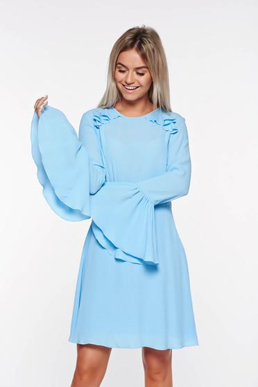 Rochie PrettyGirl albastra-deschis din voal cu spatele gol captusita pe interior cu maneci clopot