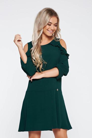 Rochie PrettyGirl verde de zi cu croi larg din material neelastic cu umeri decupati