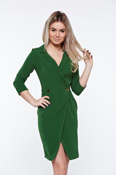 Rochie PrettyGirl verde office tip sacou petrecuta din material usor elastic