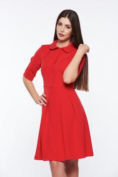 Rochie PrettyGirl rosie office in clos din material usor elastic cu guler rotunjit
