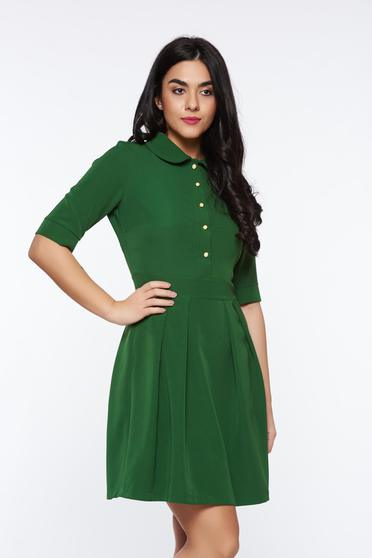 Rochie PrettyGirl verde-inchis office in clos din material usor elastic cu guler rotunjit