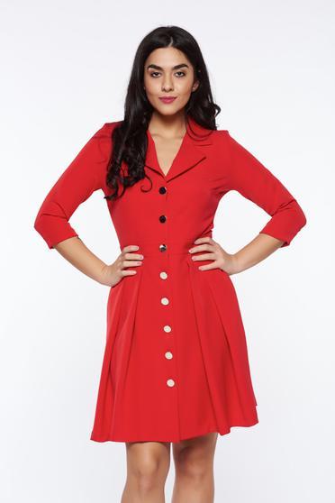 Rochie PrettyGirl rosie office din material usor elastic cu decolteu in v cu buzunare