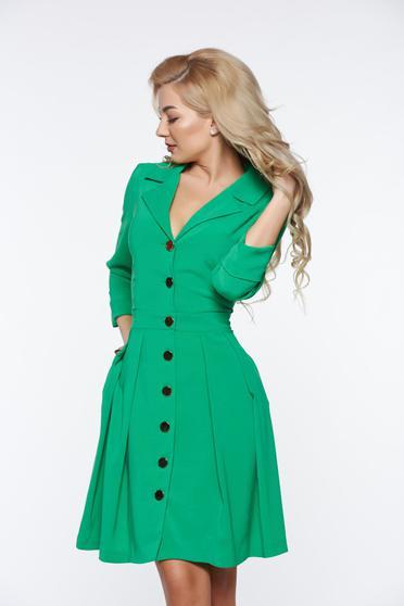 Rochie PrettyGirl verde-deschis office din material usor elastic cu decolteu in v cu buzunare