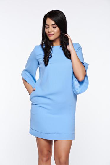 Rochie LaDonna albastra-deschis eleganta cu croi larg captusita pe interior cu buzunare
