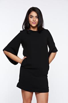 Rochie LaDonna neagra eleganta cu croi larg captusita pe interior cu buzunare
