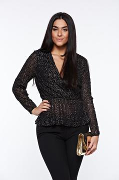 Bluza dama StarShinerS neagra eleganta din dantela cu fir lame cu elastic in talie