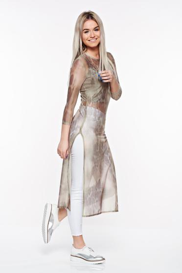 Bluza dama StarShinerS khaki casual lunga din material elastic si transparent