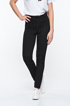 Pantaloni Ocassion negri casual cu talie medie din material elastic cu buzunare false