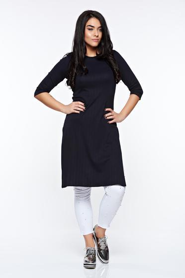 Bluza dama StarShinerS neagra casual lunga din material elastic cu un croi mulat