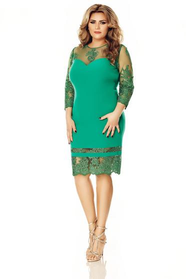 Rochie verde de ocazie tip creion din material usor elastic cu maneci din dantela