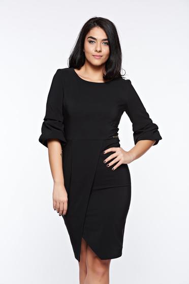 Rochie LaDonna neagra eleganta petrecuta tip creion din stofa usor elastica