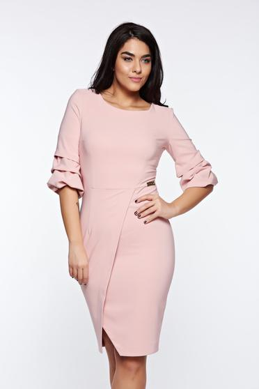 Rochie LaDonna rosa eleganta petrecuta tip creion din stofa usor elastica