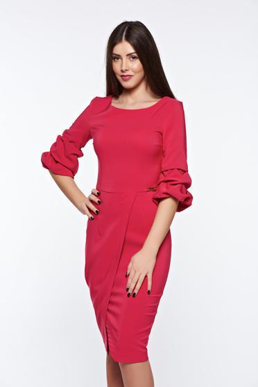Rochie LaDonna roz eleganta petrecuta tip creion din stofa usor elastica