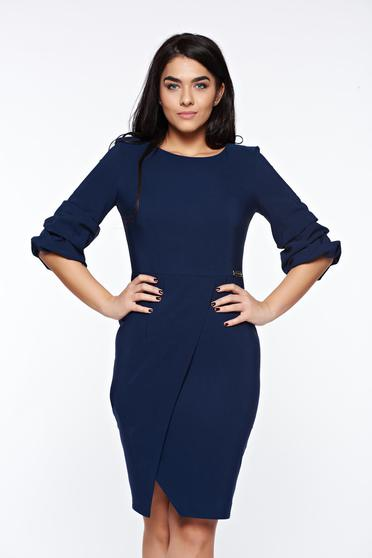 Rochie LaDonna albastra-inchis eleganta petrecuta tip creion din stofa usor elastica
