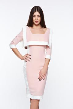 Rochie LaDonna rosa eleganta tip creion din material elastic si fin