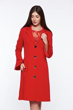 Trench LaDonna rosu elegant din stofa usor elastica captusit pe interior