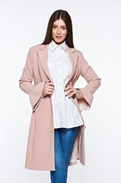 Trench LaDonna rosa elegant din stofa usor elastica captusit pe interior