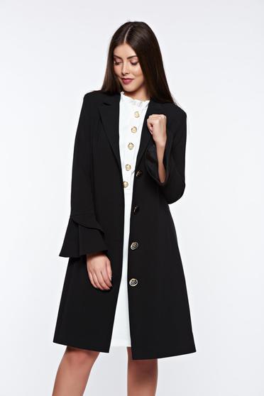 Trench LaDonna negru elegant din stofa usor elastica captusit pe interior