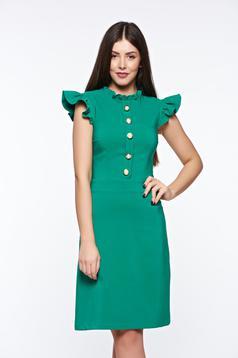Rochie LaDonna verde eleganta din material elastic si fin captusita pe interior
