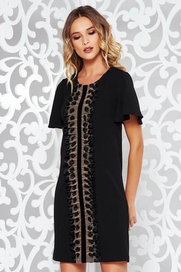 Rochie StarShinerS neagra eleganta cu croi larg din material usor elastic cu aplicatii de dantela