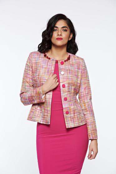 Sacou LaDonna roz elegant din bumbac captusit pe interior cu aplicatii cusute manual