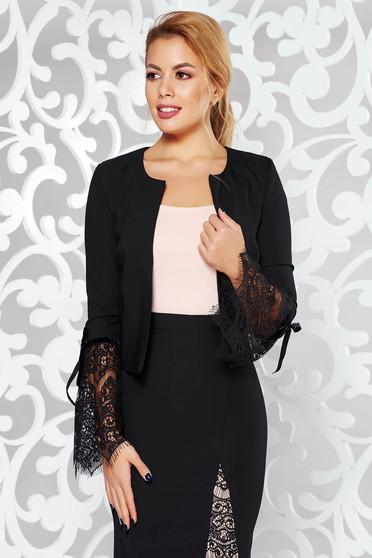 Sacou StarShinerS negru elegant din stofa subtire usor elastica captusit pe interior cu maneci din dantela