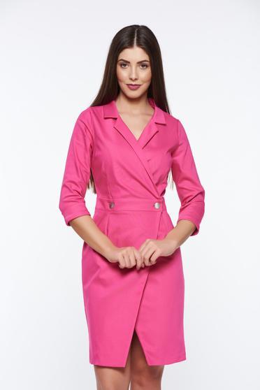 Rochie PrettyGirl roz office tip sacou petrecuta din material usor elastic