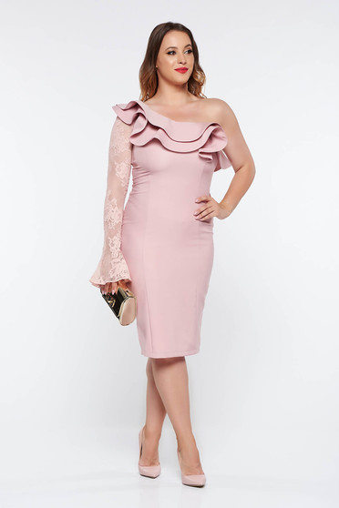 Rochie LaDonna rosa tip creion eleganta din stofa usor elastica captusita pe interior cu aplicatii de dantela